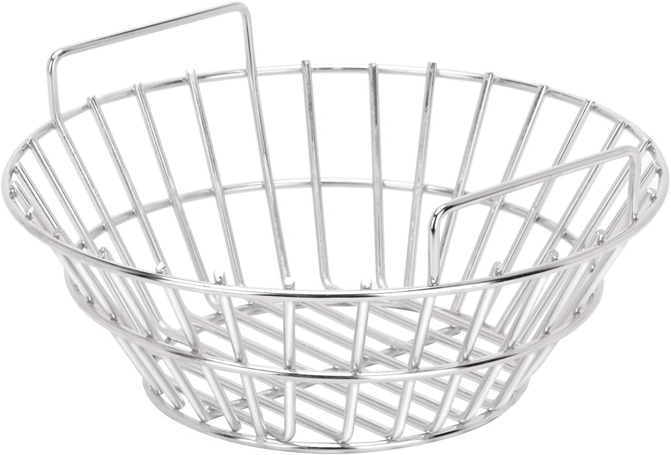 only fire #8566 Charcoal Ash Basket Stainless Steel Charcoal Holder with Handles, Grilling Accessories for Better Airflow, Fits Big Green Egg, Medium