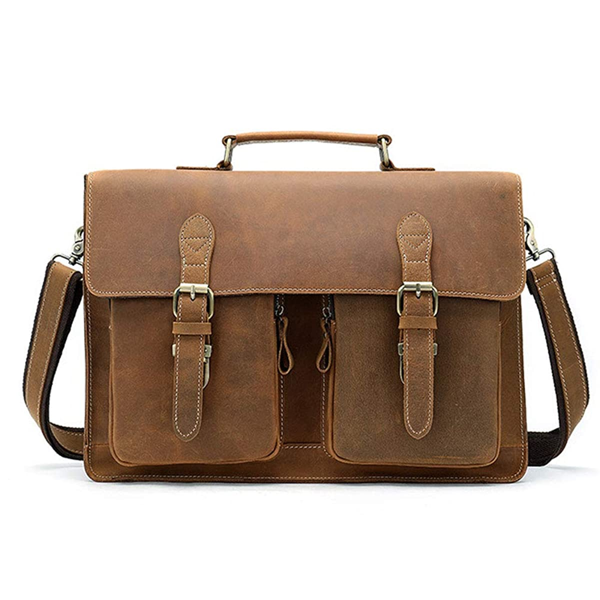 Kucspp 15.6'' Mens Full Grain Leather Removeable Laptop Compartment Briefcase Messenger Bag Satchel