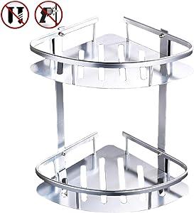 Otartu Adhesive Wall Mounted Aluminum Corner Shower Caddy Shelf, 2 Tiers Shower Organizer Extend Size (Corner Shelf)
