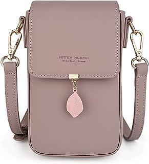 UTO Crossbody Bags for Women Leaf Pendant Card Holder Phone Checkbook Organizer Snap Pocket Purse