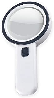 30X Handheld Magnifying Glass with Light, Jumbo Double Lens 12 LED Illuminated Magnifier for Seniors Reading, Coins, Explo...