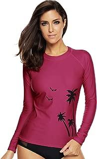 Womens Long Sleeve Rash Guard Swimsuit SPF Shirts UV Surf Top Swimwear
