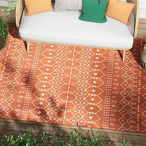 Woven Orange Lattice Pattern Rug