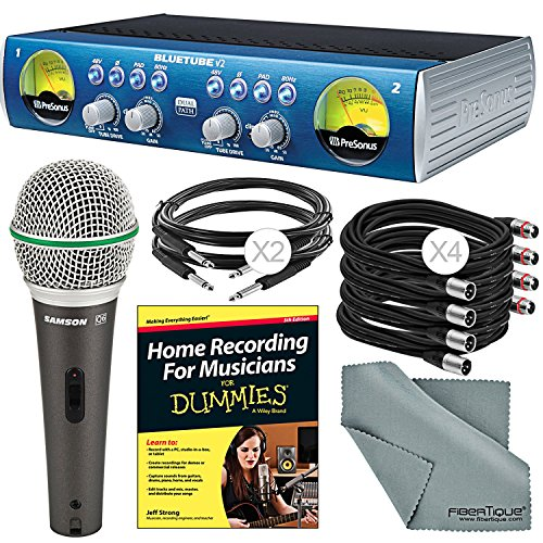 PreSonus BlueTube DP V2 2-channel Mic/Instrument Tube Preamp and Accessory Bundle w/Samson Q6 Mic + Home Recording for Musicians for Dummies + More