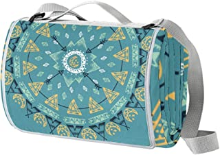 EGGDIOQ Mandala with Boho Elements Picnic Blanket Waterproof Outdoor Blanket Foldable Picnic Handy Mat Tote for Beach Camp...