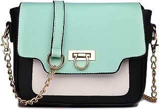 Miss Lulu Leather Style Horseshoe Clasp Cross Body Satchel Evening Handbag Purse