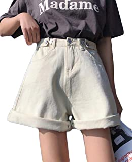 ZhongJue(ジュージェン)デニムパンツ レディース ゆったり ショートパンツ ファッション ハイウェスト ハーフパンツ 綿 ワイドパンツ ビーチ カジュアル 夏