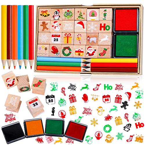 Konsait 34pcs Wooden Christmas Stamps With Ink Pad Colored Pencil, Holiday Wood Rubber Stamp Cavalli Mini Stamp Images With Drawing Colouring Pencil Art Supplies Set for Greeting Cards Scrapbooks