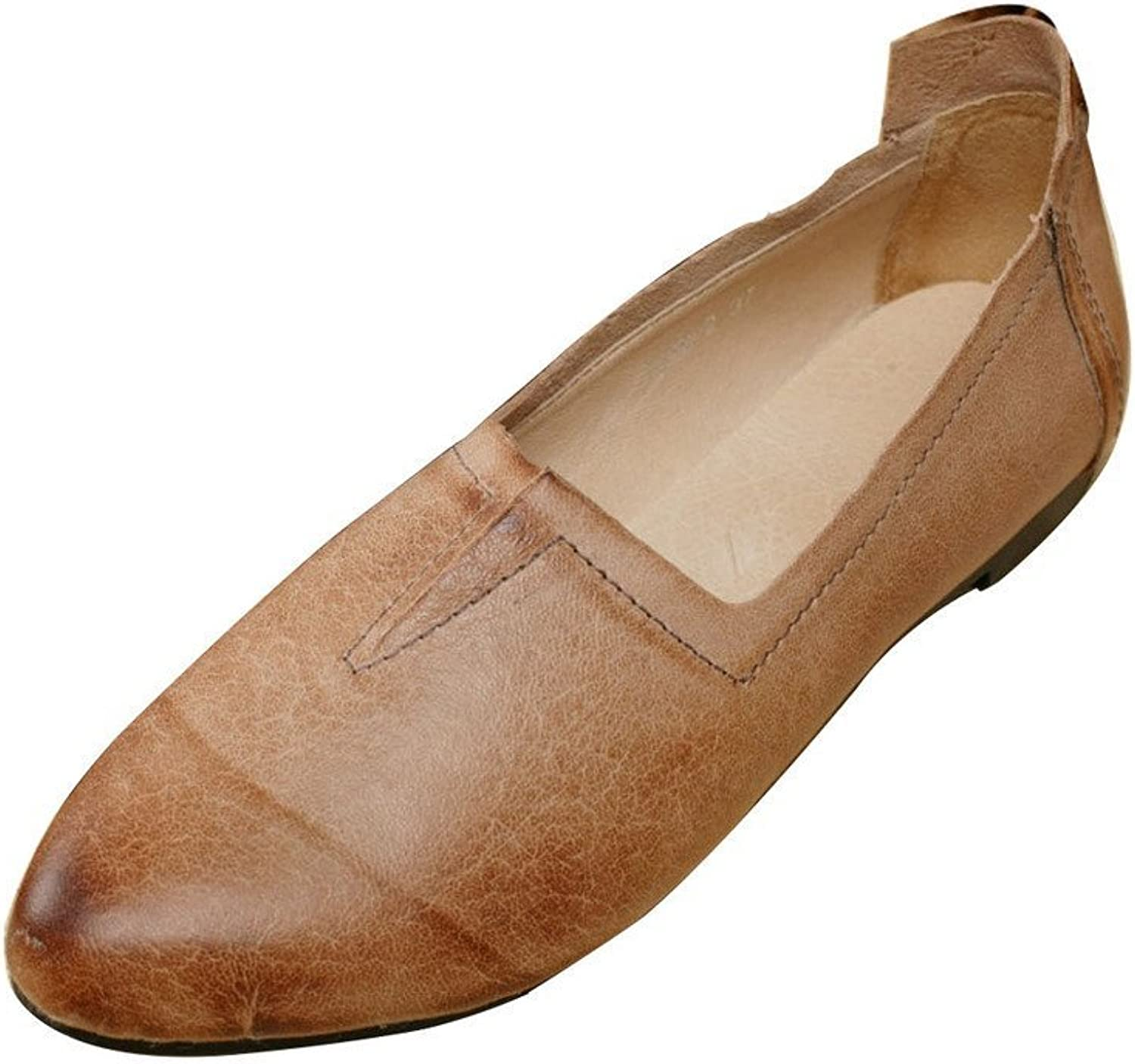 Yolee Women's Pointed Toe Leather Flat shoes