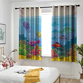 MaryMunger Aquarium Custom Curtain Funny Cartoon Style Underwater Scenery with Various Animals and Treasure Chest Blackout Draperies for Bedroom W 63