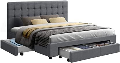 King Bed Frame with 4 Storage Drawers AVIO Fabric Headboard Wooden