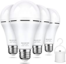 Rechargeable Emergency Light Bulb Daylight 6500K Battery Backup for Power Outage Failure 15W 80W Equivalent 1200mAh with H...