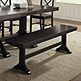 Walker Edison Furniture Company 3 Person Modern Farmhouse Wood Armless Dining Bench Kitchen, 60 Inch, Black