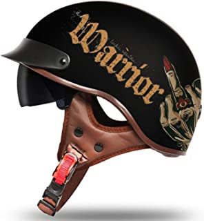 Youth Open Face Motorcycle Half Helmet Retro Harley Beanie Helmet Motorcycle DOT Certification Men and Women Bicycle Scooter Street Riding Travel Half Helmet with Sun Visor,L