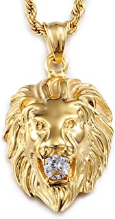 Stainless Steel Vintage Men's Gold Lion Pendant Necklace White Stone Rope Chain 24