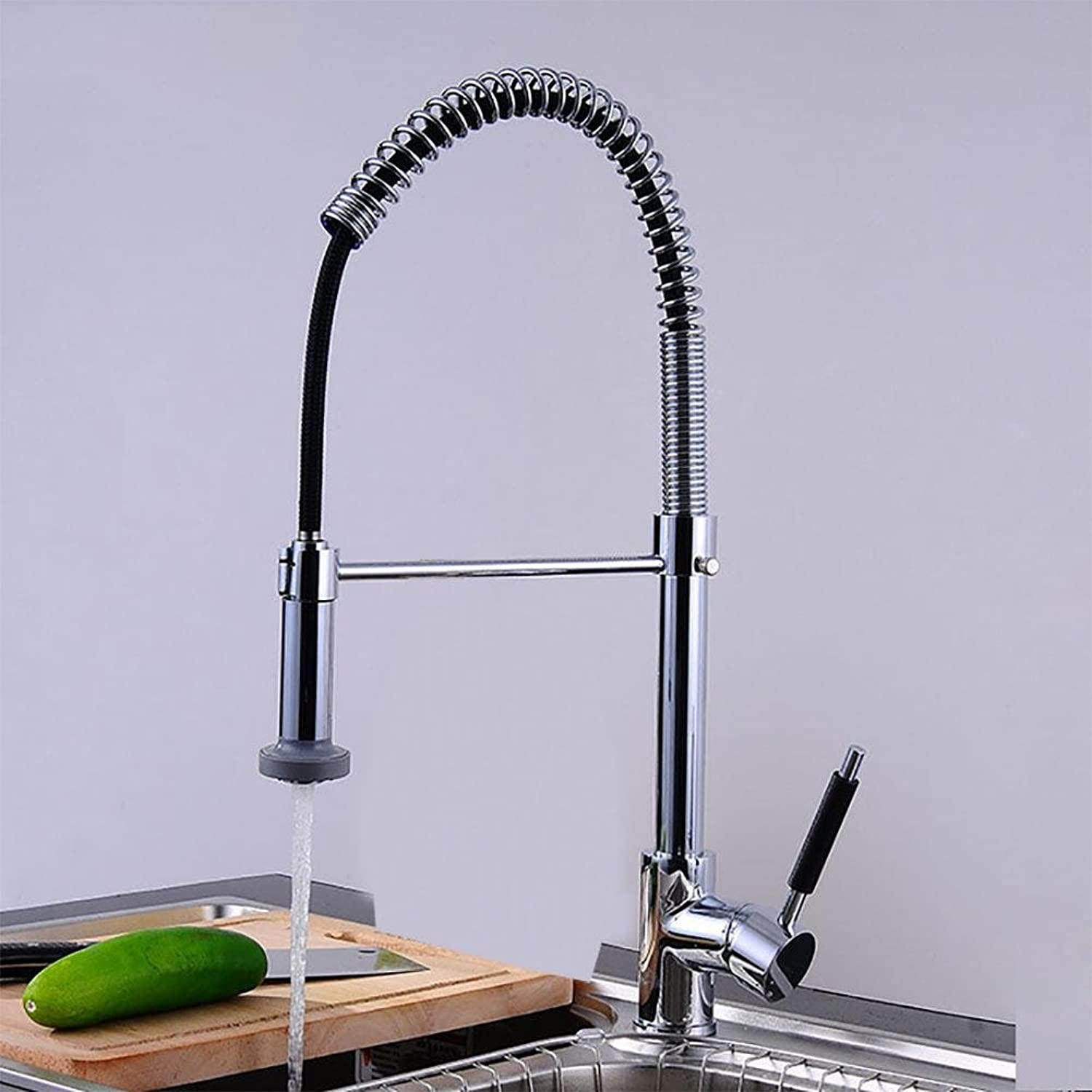 QW Kitchen sink spring faucet pull pull single handle redatable mixer hot and cold faucet wire drawing , B