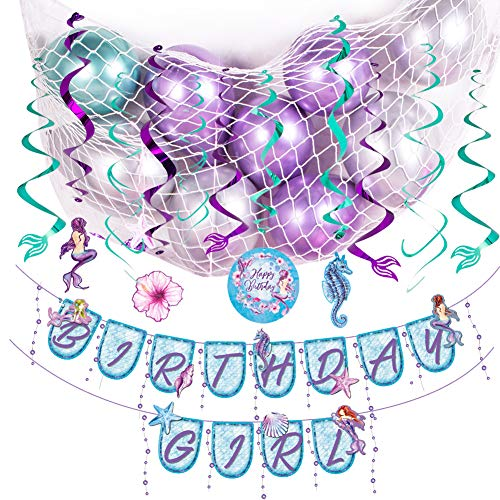 Sunbeauty Zeemeermin Party Deco Kit Birthday slinger Mermaid spiralen verjaardag meisje