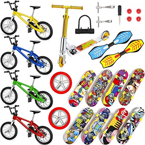 Cwuberly 25 Pieces Mini Finger Toys Set Finger Scooter Mini Skateboards Finger Skateboard Mini Bikes Finger Boards for Kids Party Favors
