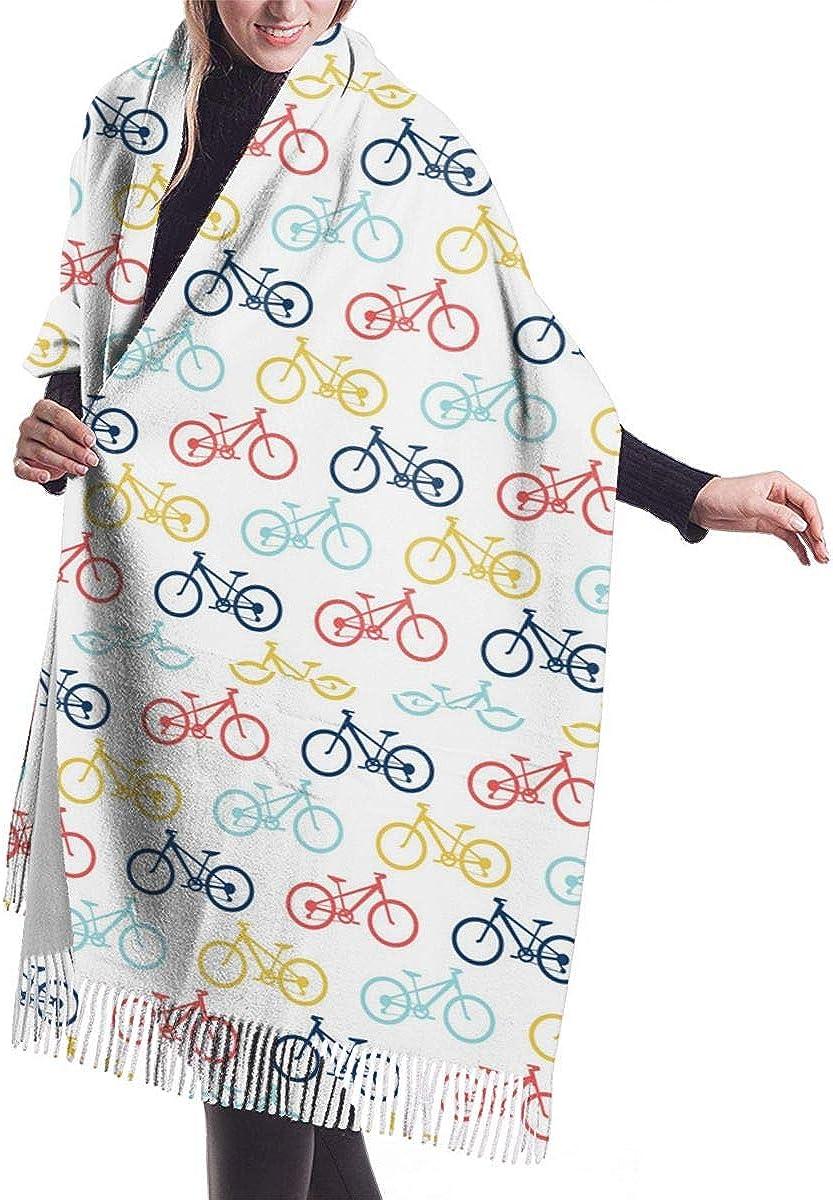 Retro Bike Pattern Winter Scarf Cashmere Scarves Stylish Shawl Wraps Blanket