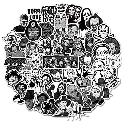 Horror Movie Adesivi - simyron 100Pezzi Film Horror Adesivi, Horror Graffiti Decalcomania, Classico Orrore Personaggi Adesivi per Halloween Feste, Porta, Libro, Computer Portatile, Feste Decorazione