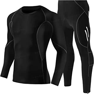 Men's Workout Set Men's Tracksuit Athletic Sports Casual ,Long Sleeve Compression Shirt Lightweight, Comfortable Fits for ...