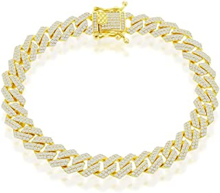 """Beaux Bijoux 8.6mm/10.3mm Monaco Bracelet and Necklace Chain 8"""", 8.5"""", 20"""", 22"""", 24"""" with Micro Pave Simulated Diamond CZ ..."""