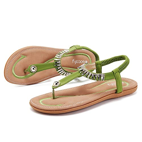 9229ca33ce756 gracosy Women Summer Low Flat Heel Flip Flop Sandals Slip On Post Thong  Boho Shoes with