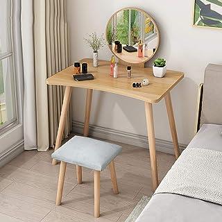 XIAMIMI Dresser Maquillaje Desk sólidos aparadores de Madera Tocador extraíbles Espejo cajones con hecesAmarillo60 * 60cm