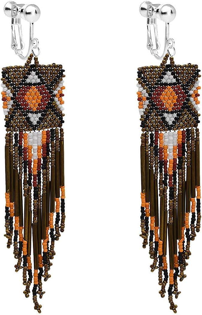 Clip on Dangle Earrings Bohemian Long Tassel Boho Women Girls Fringe Drop Handmade Seed Beaded