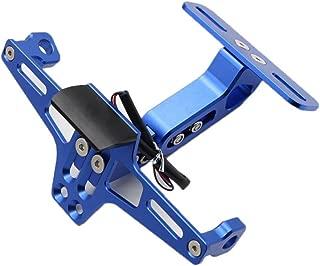 CNC Moto Support de Plaque dimmatriculation pour Yamaha BWS R25 R3 MT03 MSX Bleu Dyujn Universal Supports de Plaque Dimmatriculation Aluminium Anodis/és avec feu de Licence