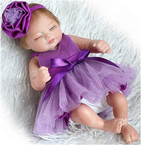 IIWOJ Reborn Babypuppe, Mini Simulierte Augen Geschlossene mädchen Silikonpuppe 26cm Niedlich und realistisch,lila