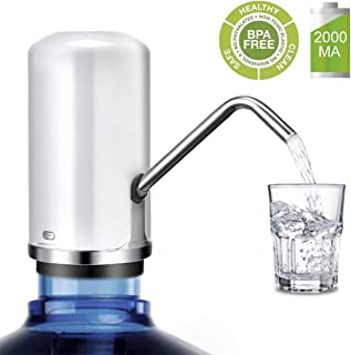 water pump for 5 gallon bottle,USB charging Portable electric Drink water bottle pump dispenser (Fits Most 2-5 Gallon Water bottle[2000MA battery powered]) (white)