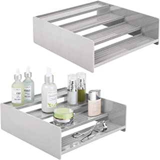 mDesign Plastic Bathroom Storage Organizer Shelf for Cabinet, Vanity, Countertop - Holds Vitamins, Supplements, Medicine Bottles, Essential Oils, Nail Polish, Cosmetics, 4 Levels, 2 Pack - Light Gray