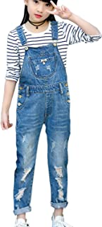3-14 Years Kids Big Girls Jumpsuits & Rompers Distressed Bib Denim Overalls Blue Long Jeans Stretchy Ripped Jeans