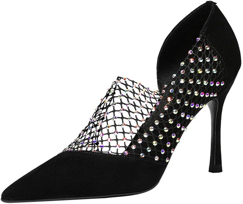 Sandals Sandals Rhinestones Hollow High Heels Summer Women's shoes Stiletto Heels Pointed Diamonds Sexy Sandals Dating shoes, High Heels 9 cm (color   Black, Size   39)