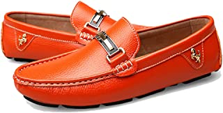 Men's Soft Leather Moccasin Shoes Slip-On Casual Driving Shoes Loafers On Foot Flat Boat Shoes Spring and Summer Male