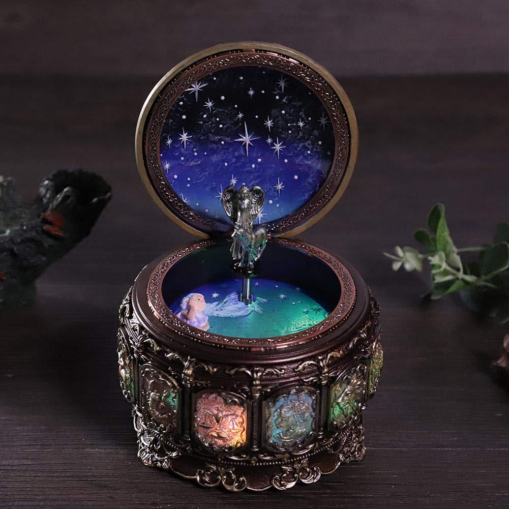 Jeffergarden Caja de música Vintage con 12 Constelaciones, Diosa giratoria, luz LED Parpadeante (Taurus): Amazon.es: Hogar