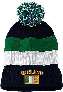 Ireland Flag Embroidered Vintage Striped Removable Pom Pom Beanie d0a82f93110
