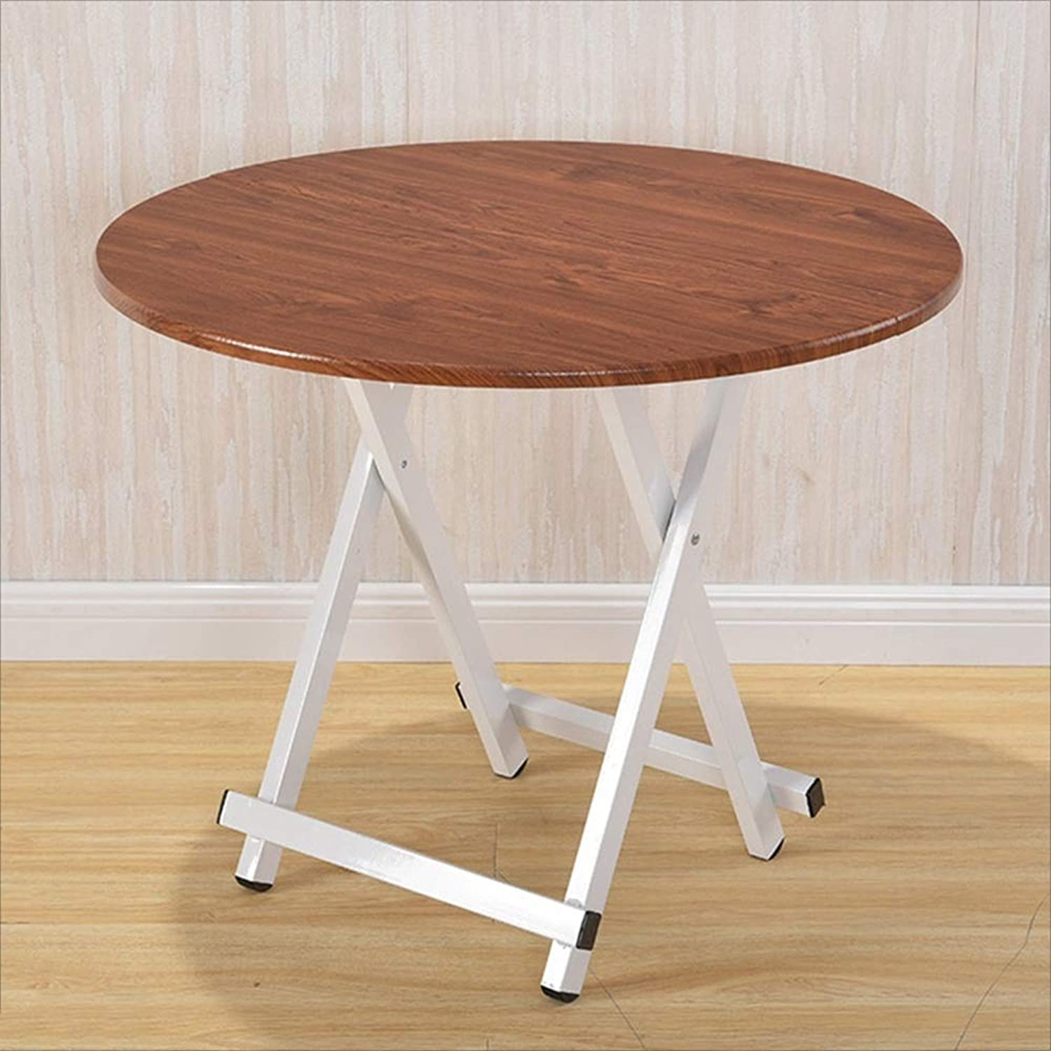 YNN Round Folding Table Dining Table Multi-color Optional Computer Desk Portable (color   Original Wood color, Size   60  55cm)