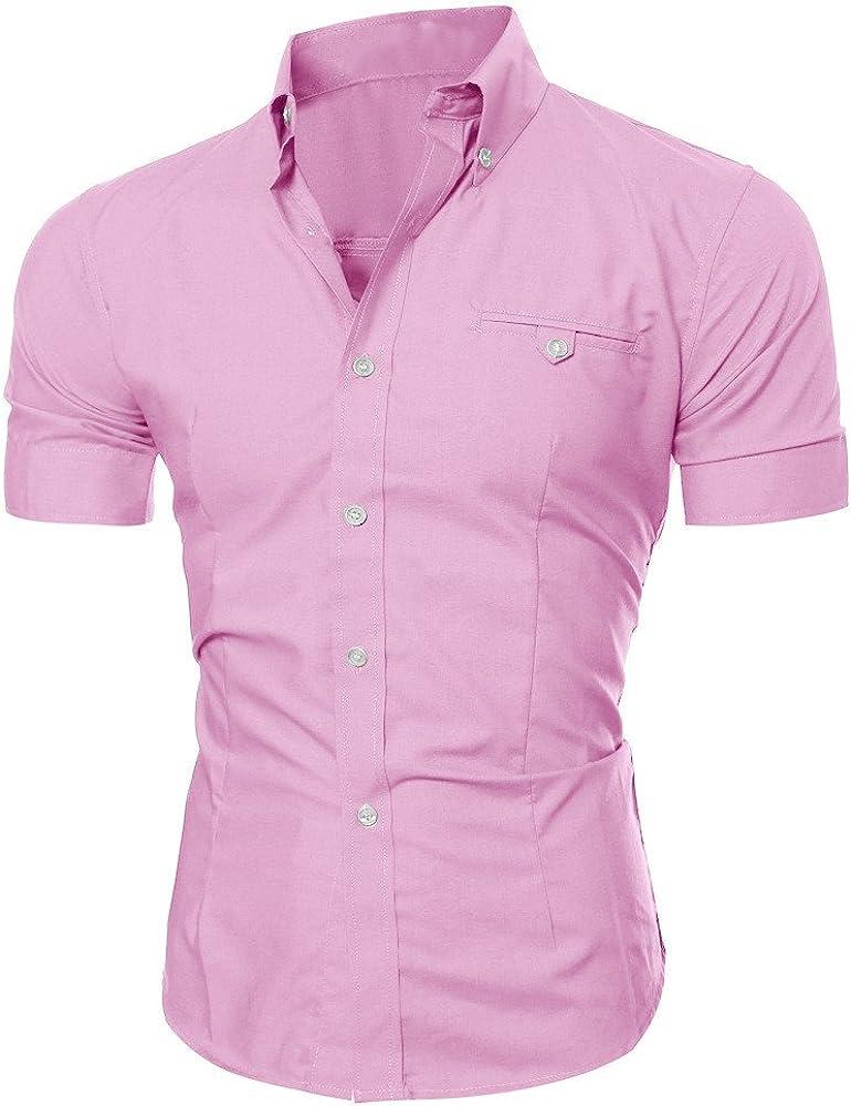 Men Business Dress Shirt Luxury Slim Fit Short Long Sleeve Casual Lapel Button Tops