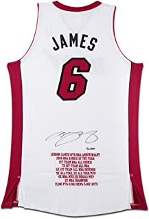LeBron James Signed Miami Heat 10th Anniversary Stats Jersey , UDA - Limited to 25