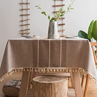 Nappe en Coton et Lin Robuste Plenmor pour Tables Rectangulaires Nappe avec Broderie en Treillis Solide pour Décoration de...