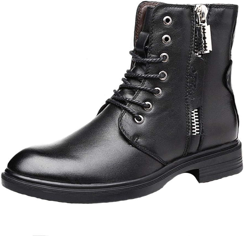 ZHRUI Men's Leather Martin Boots Outdoor High-Top Plus Velvet Warm Non-Slip Large Size Cotton shoes (color   Black, Size   EU44 UK9)