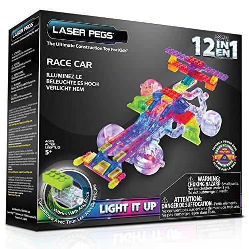 Blocos de Montar Base Luminosa Carro de Corrida 12 em 1, Laser Pegs, Colorido