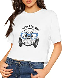 I Shih Tzu Not White Girls and Women's Short Sleeve T Shirt Round Neck Crop Top Casual Blouse 100% Cotton