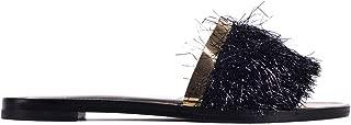 Womens Black Leather Tinsel Fringe Sandal Slides