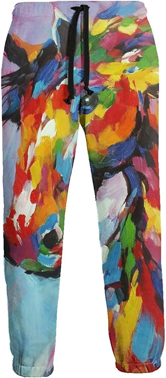 Mens Jogger Sweatpants Yellow Horse Animal Lightweight Workout Athletic Joggers Pants Trousers
