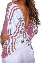 Short Sleeve Tee Blouse for Women,Amiley Womens Stripe Back V Twist Low Cut Split Blouses Round Neck Short Sleeve T Shirt Top