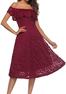 Hyling Women's Off The Shoulder Ruffle Lace Elegant Cocktail Party Midi Dress