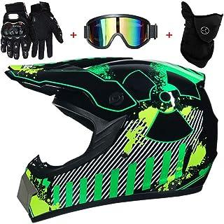 TKUI Motorradhelm, Outdoor Jugend Kinder Dirt Fahrradhelme, Full Face Motocross Offroad Helm Four Seasons Universal (Handschuhe, Brille, Maske, 4 teiliges Set)